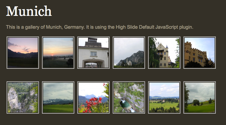 Gallery view using HighSlide plugin