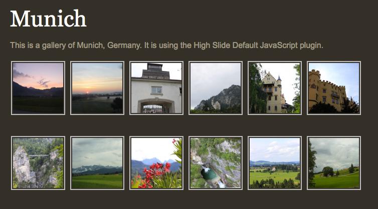 Gallery view using HighSlide plugin