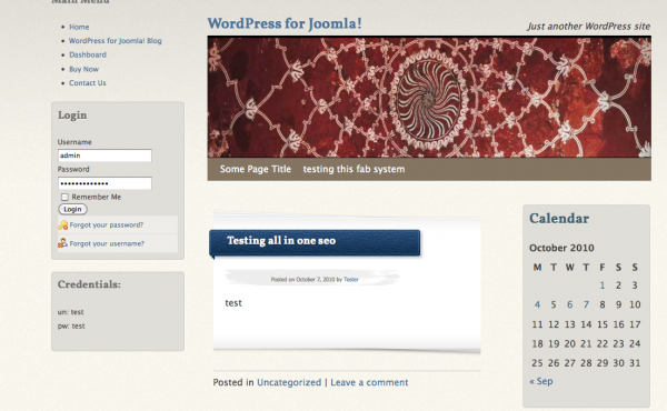 WordPress blog in Joomla